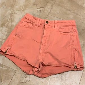 Coral American Apparel high waisted shorts